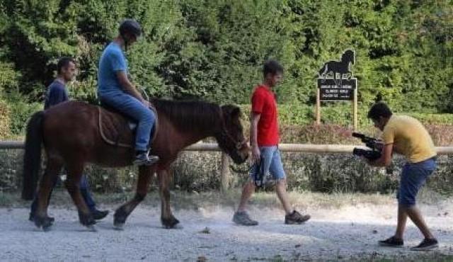 Snemanje prispevka o jahanju konj slepih in slabovidnih
