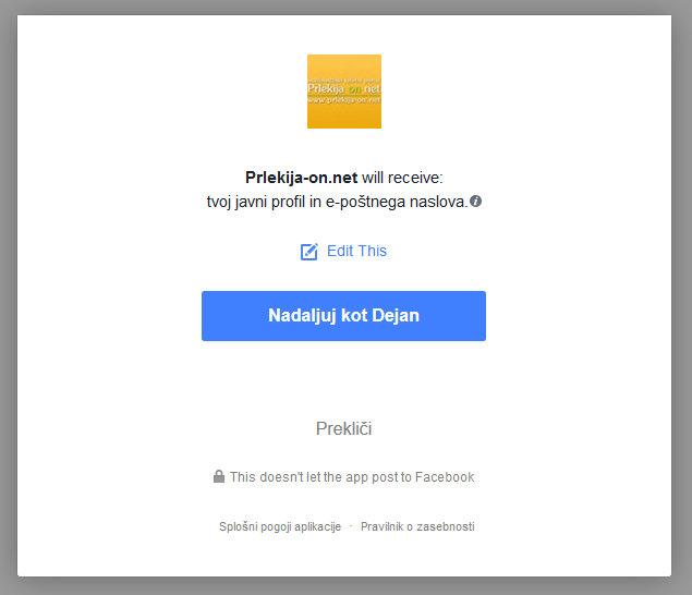 Facebook prijava login