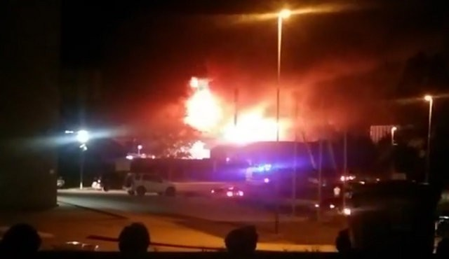 Ogenj v hali na Ptuju, foto: FB video Gregor Prevolšek
